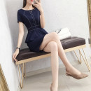 Dress Summer of 2019 Navy Blue S M L XL XXL XXXL Middle-skirt singleton  Short sleeve commute Crew neck middle-waisted Solid color Socket A-line skirt routine Others 25-29 years old Type X AI ronger Korean version Ruffle zipper More than 95% polyester fiber Exclusive payment of tmall
