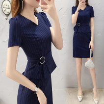 Dress Summer of 2019 Dress S M L XL XXL XXXL Middle-skirt singleton  Short sleeve commute V-neck middle-waisted stripe Socket Pencil skirt routine Others 25-29 years old AI ronger Ol style Lace up zipper More than 95% other Other 100% Exclusive payment of tmall