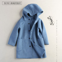 woolen coat Off white, misty blue 100cm,110cm,120cm,130cm,140cm,150cm,160cm neutral Liying Wool No model No detachable cap Korean version thickening winter Single breasted Wool 100% Solid color stand collar Class C