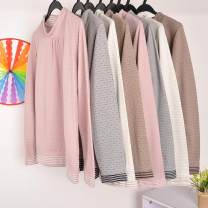T-shirt M,L,XL,3L Long sleeves Half high collar Straight cylinder Regular routine Sweet cotton 51% (inclusive) - 70% (inclusive) youth Wave point solar system