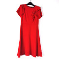 Dress Spring 2021 gules 155/80A Mid length dress singleton  Short sleeve Crew neck High waist other Type A Other / other More than 95% polyester fiber