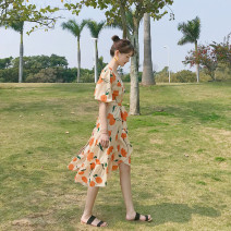 Dress Spring of 2019 Vibrant orange S,M,L,XL Mid length dress singleton  elbow sleeve commute V-neck High waist Decor other Ruffle Skirt bishop sleeve 18-24 years old Type A Other / other Korean version Ruffle, resin fixation, printing 51% (inclusive) - 70% (inclusive) Chiffon acrylic fibres