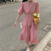 Dress Spring 2021 Rose red, white, purple, black, BB light pink, goose yellow Average size longuette singleton  Short sleeve commute Crew neck High waist Solid color zipper Princess Dress puff sleeve 18-24 years old Type H Bowknot, hollow out, fold, tie, splice, tie, zipper, resin fixation other