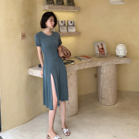 Dress Summer 2020 Turquoise Average size Mid length dress singleton  Short sleeve commute Crew neck High waist Solid color routine Korean version 30% and below