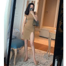 Dress Summer of 2019 Black, apricot S,M,L Short skirt singleton  Short sleeve commute Crew neck Solid color Korean version 30% and below other polyester fiber