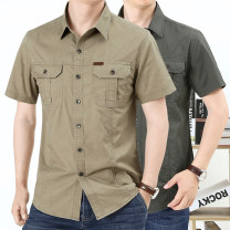 shirt other Teng Pai M L XL 2XL 3XL 4XL routine square neck Short sleeve easy Other leisure autumn middle age Cotton 100% Military brigade of tooling 2021 Solid color Summer 2021 washing cotton Multiple pockets Pure e-commerce (online only) More than 95%