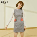 Dress Winter 2017 grey XS,S,M,L Mid length dress singleton  Sleeveless Sweet Crew neck middle-waisted lattice zipper A-line skirt routine Others 18-24 years old Type H Cici-Shop Color contrast More than 95% other polyester fiber college