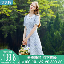 Dress Summer 2021 M L XL Mid length dress singleton  Short sleeve commute middle-waisted Single breasted A-line skirt routine 30-34 years old I believe you lady Button printing 31% (inclusive) - 50% (inclusive) polyester fiber Viscose (viscose) 52% polyester 48%