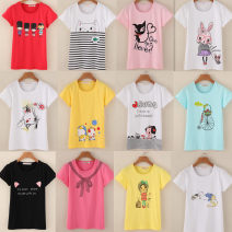 T-shirt XS,S,M,L,XL Summer 2016 Short sleeve Crew neck Self cultivation Regular routine cotton 96% and above literature Cartoon, anime, animal pattern, plant, flower, letter, number, scenery, character, shoe bag / accessories printing