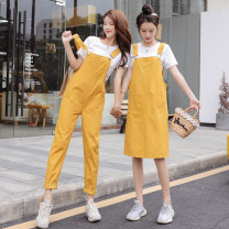 Women's large Spring 2021 Other oversize styles Two piece set commute easy thin Socket Short sleeve Solid color Korean version Crew neck routine Polyester, cotton Three dimensional cutting routine 18-24 years old pocket Short skirt Pencil skirt trousers straps