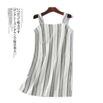 Dress Summer 2020 Picture color XS,S,M,L,XL,2XL,X,1X,2X,3X Short skirt singleton  Sleeveless commute One word collar Loose waist stripe Socket other straps 18-24 years old 51% (inclusive) - 70% (inclusive) other other