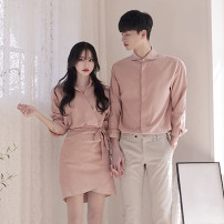 shirt 082 Lace Up Skirt - pink, 082 Lace Up Skirt - black, 082 Lace Up Skirt - apricot, casual pants - Apricot Female-s (dress), female-m (dress), male-m (shirt), male-l (shirt), male XL (shirt), male-m (trousers), male-l (trousers), male XL (trousers) Autumn of 2019 cotton Long sleeves commute