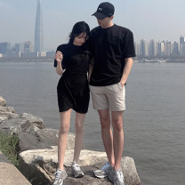 T-shirt Lantern Sleeve Short Sleeve T-Shirt - black, Lantern Sleeve Short Sleeve T-Shirt - white Female-s (dress), female-m (dress), female-l (dress), male-m (T-shirt), male-l (T-shirt), male XL (T-shirt) Summer of 2019 Short sleeve Crew neck Self cultivation Regular routine commute cotton love