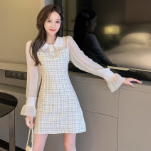 Dress Spring 2021 Picture color S,M,L,XL,2XL Mid length dress singleton  Long sleeves commute Doll Collar High waist Solid color Single breasted A-line skirt shirt sleeve Others 25-29 years old Type A Other / other Korean version Rivets, stitches, buttons, zippers W12.9 other other