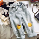 trousers Other / other female 90cm,100cm,110cm,120cm,130cm,140cm Smiley face printed jeans (in stock), smiley face printed jeans (pre-sale) spring and autumn trousers Korean version There are models in the real shooting Jeans Leather belt Cotton denim