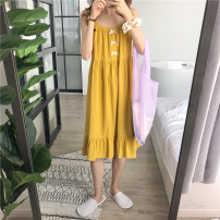 Nightdress Other / other yellow Average size Sweet camisole Leisure home longuette summer Solid color youth cotton bow More than 95% Cotton and hemp 200g and below