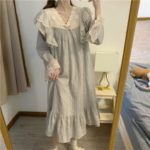 Nightdress Other / other grey Average size luxurious Long sleeves longuette spring lattice V-neck cotton Cotton and hemp