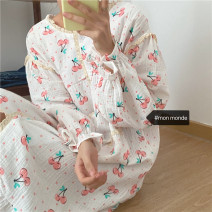 Nightdress Other / other Picture color Average size Sweet Long sleeves Leisure home longuette winter Plants and flowers Crew neck cotton printing More than 95% other