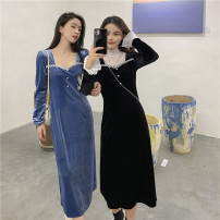Dress Winter 2020 Blue, black M, L Miniskirt singleton  Long sleeves commute square neck High waist Solid color Socket other other Others 18-24 years old Korean version 3380# 91% (inclusive) - 95% (inclusive) other polyester fiber