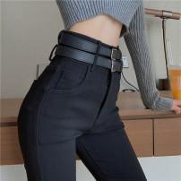 Jeans Autumn 2020 Black regular, black Plush S,M,L High waist Pencil pants five thousand and thirty-six #