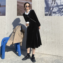 Dress Winter 2020 black Average size Miniskirt singleton  Long sleeves commute Crew neck High waist Solid color Socket A-line skirt other Others 18-24 years old Type A Korean version 3332# 91% (inclusive) - 95% (inclusive) other polyester fiber