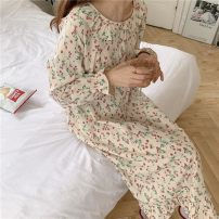 Nightdress Other / other Picture color Average size Sweet Long sleeves Leisure home longuette autumn Plants and flowers youth Small lapel cotton Lotus leaf edge More than 95% Cotton and hemp 200g and below