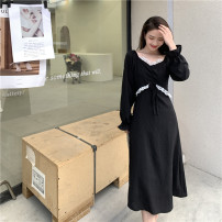 Dress Spring 2021 Black, Caramel M, L Miniskirt singleton  Long sleeves commute square neck High waist Solid color Socket A-line skirt pagoda sleeve Others 18-24 years old Type A Korean version 30044# 91% (inclusive) - 95% (inclusive) other polyester fiber
