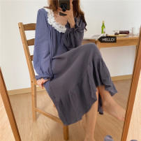 Nightdress Other / other Red, blue Average size Sweet Long sleeves Leisure home longuette autumn Solid color youth square neck cotton printing More than 95% other 9751-A 200g and below