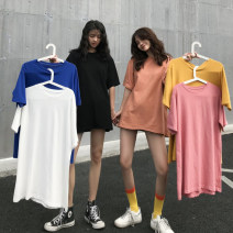 T-shirt Lean black, versatile white, Coral Orange, electric blue, raspberry powder, bright yellow Average size Spring 2020 Short sleeve Crew neck easy Medium length routine commute cotton 96% and above 18-24 years old Simplicity 3664#