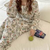 Nightdress Other / other On the picture Average size Sweet Long sleeves Leisure home longuette autumn Plants and flowers youth Small lapel cotton Lotus leaf edge More than 95% Cotton and hemp 200g and below