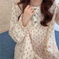 Pajamas / housewear set female Other / other Average size Dress cotton Long sleeves Sweet autumn routine Plants and flowers Socket longuette