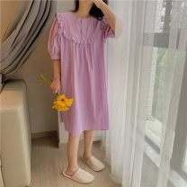Nightdress Other / other violet Average size Sweet Short sleeve Leisure home Middle-skirt summer Solid color youth Crew neck cotton printing More than 95% pure cotton 200g and below