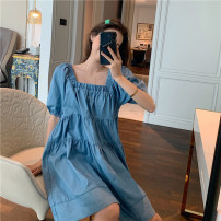 Dress Summer 2020 Graph color Average size Middle-skirt singleton  Short sleeve commute square neck Loose waist Decor Socket Cake skirt 18-24 years old Type A Korean version