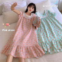 Pajamas / housewear set female Other / other Average size Green, pink cotton Short sleeve Sweet summer routine Crew neck other Socket longuette