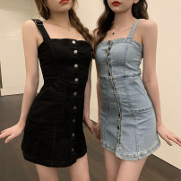 Dress Summer 2020 Blue, black S,M,L Short skirt singleton  Sleeveless commute One word collar High waist other Single breasted A-line skirt other camisole 18-24 years old Type A Korean version 5230# 71% (inclusive) - 80% (inclusive) Denim cotton