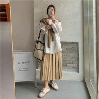 Fashion suit Autumn 2020 Average size Knitted shawl, white shirt, khaki pleated skirt s, khaki Pleated Skirt M 18-25 years old