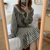 Pajamas / housewear set female Other / other Average size Red dress, red suit, blue dress, blue suit other Long sleeves Simplicity Leisure home spring routine Crew neck lattice trousers Socket youth 2 pieces rubber string More than 95% printing 9782-A 200g and below longuette