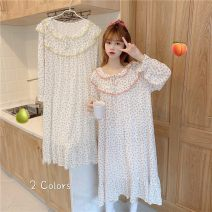 Pajamas / housewear set female Other / other Average size Broken flower nightdress, yellow broken flower nightdress other Long sleeves Sweet pajamas autumn Crew neck Broken flowers Tether youth More than 95% Middle-skirt