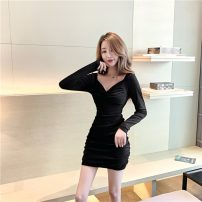 Dress Winter of 2019 Black, Barbie powder S,M,L,XL,2XL Short skirt singleton  Long sleeves commute V-neck High waist Solid color Socket One pace skirt routine Others 18-24 years old Type A Other / other Korean version 31% (inclusive) - 50% (inclusive)