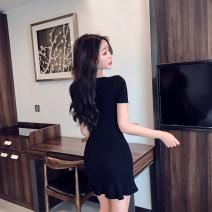 Dress Summer 2020 Red, black S,M,L,XL,2XL Short skirt singleton  Short sleeve commute Crew neck High waist Decor Socket Ruffle Skirt camisole 18-24 years old Type A Korean version 31% (inclusive) - 50% (inclusive) cotton