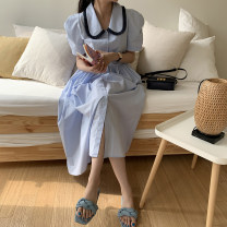 Dress Summer 2021 blue S,M,L Mid length dress singleton  Short sleeve commute Doll Collar Solid color Socket other Others 18-24 years old Others Korean version three point one eight 51% (inclusive) - 70% (inclusive)