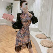 Dress Autumn 2020 Decor S,M,L Short skirt singleton  Long sleeves commute 18-24 years old Type H Korean version