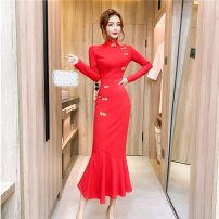 Dress Winter 2020 Red, black S,M,L longuette singleton  Long sleeves commute High waist Ruffle Skirt other Others 18-24 years old Type A Korean version eleven point eight 30% and below