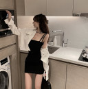 Fashion suit Summer 2021 Average size Black suspender skirt, white coat 18-25 years old Other / other