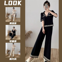 Women's large Summer 2021 S,M,L Two piece set commute easy Short sleeve Korean version 25-29 years old 81% (inclusive) - 90% (inclusive) trousers