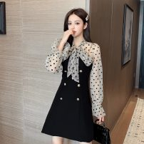 Dress Autumn 2020 Black [suit tmall quality] S,M,L,XL Short skirt Two piece set Long sleeves commute Scarf Collar Dot zipper A-line skirt bishop sleeve 18-24 years old Type A Retro Flocking, chains, buttons eight point one five 51% (inclusive) - 70% (inclusive) other