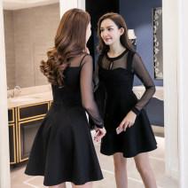 Dress Autumn of 2019 black S,M,L,XL,2XL Short skirt Long sleeves Crew neck High waist zipper Big swing routine 8.19-2