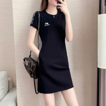 Women's large Summer 2021 White, black Dress singleton  commute easy moderate Socket Short sleeve Solid color, letter Simplicity Crew neck Medium length Polyester, cotton Three dimensional cutting routine Yueshangxin pocket 91% (inclusive) - 95% (inclusive) Medium length Pencil skirt Cotton 71% - 80%