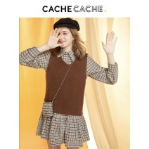Dress Spring 2021 Rice bran Brown / 829 160/84A/S 165/88A/M 170/92A/L 175/96A/XL Mid length dress Two piece set Long sleeves commute Pile collar High waist lattice Socket other routine Others 18-24 years old Cache Cache literature Three dimensional decoration More than 95% cotton Cotton 100%