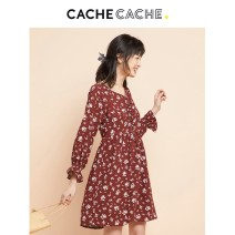 Dress Spring 2020 Brick red / 376 160/84A/S 165/88A/M 170/92A/L 175/96A/XL Middle-skirt singleton  three quarter sleeve commute V-neck middle-waisted Decor Socket other Others 18-24 years old Cache Cache Retro More than 95% polyester fiber Polyester 100%
